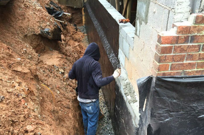 french drain and stone